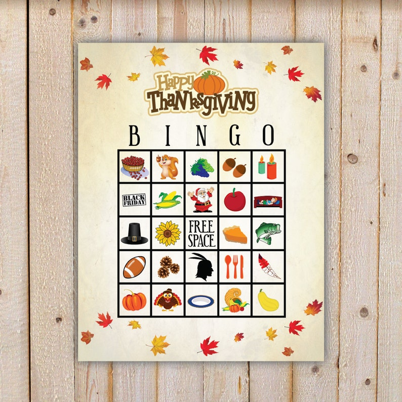 photograph about Thanksgiving Bingo Printable known as Thanksgiving Bingo Activity with 20 one of a kind Bingo playing cards and 30 hefty and tiny getting in contact with playing cards - Printable, Immediate Down load