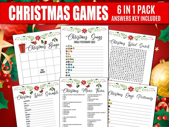 6 In One Pack Christmas Games Christmas Songs Emoji Pictionary Quiz Christmas Party Game Christmas Song Quiz Christmas Printables 434