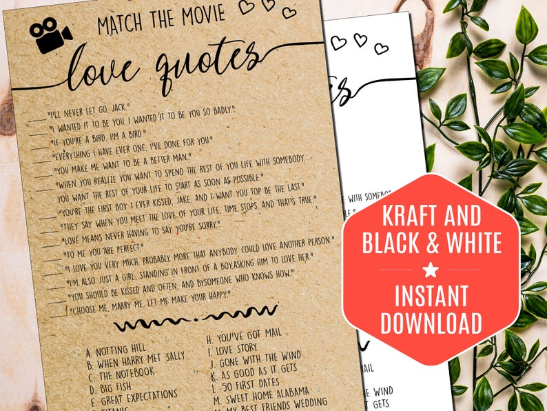Hen Party Movie Quote Game Hen Night Match The Movie Love Quotes Bridal Shower Games Rustic Bridal Games Kraft #459 Movie Love Quotes