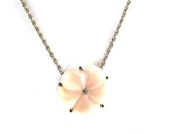 Pink Flower Necklace Etsy