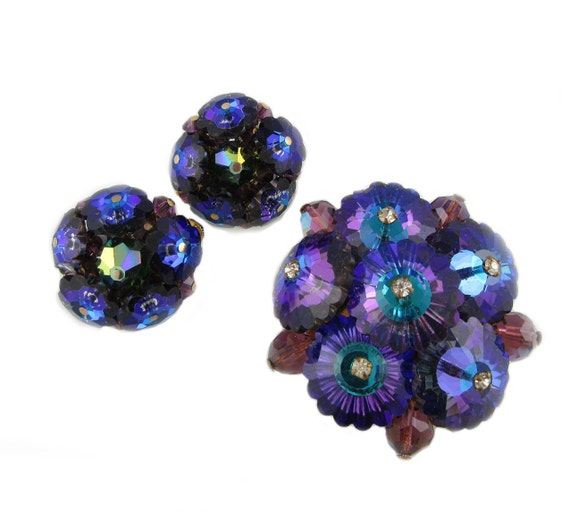 Purple Crystal Brooch with Matching Clip On Earrin