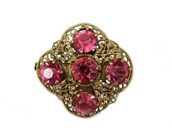 Filigree Pink Brooch