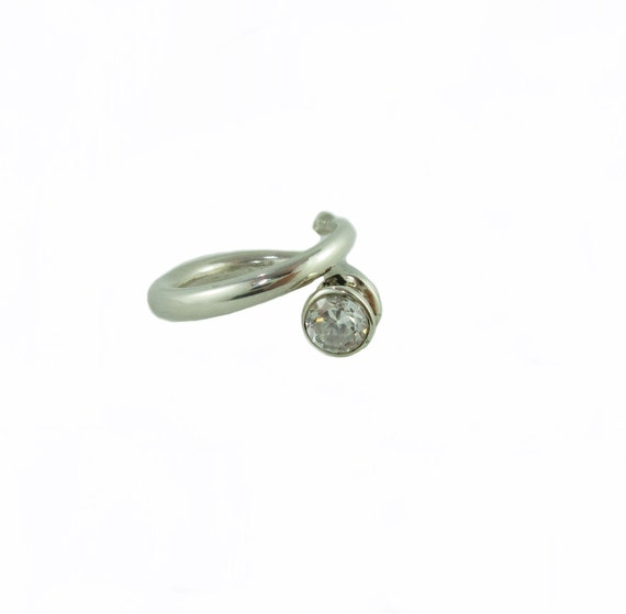 Spiral Silver Ring with CZ