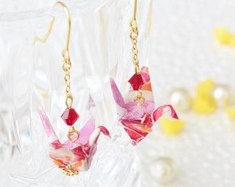 Origami Crane Earrings - Pink/Red