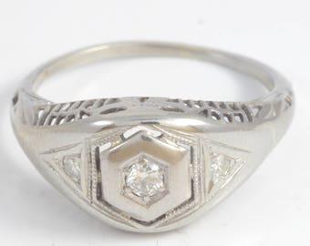 Antique 1920's Art Deco k White Gold 3 Stone Diamond Milgrain Filigree Engagement Ring