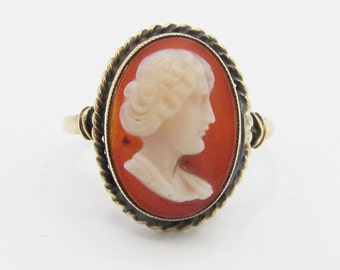 Antique cameo ring etsy vintage 10k yellow gold cameo ring antique victorian revival aloadofball Choice Image
