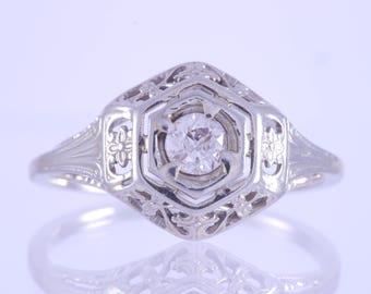 Antique Art Deco 14k White Gold Round Brilliant Diamond Solitaire Hexagon Floral Filigree Ring .1 CTW
