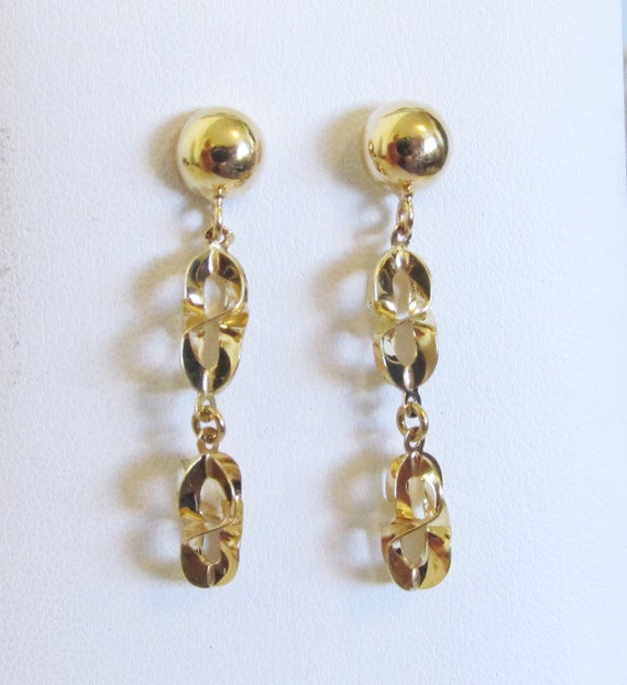 Vintage 18k Yellow Gold Stud Dangle Chain Link Ear