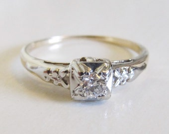 Antique Art Deco Diamond Engagement Ring 14k White Yellow Gold Floral Vintage