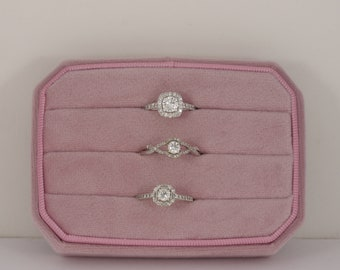 Velvet Ring Box Handmade - Fits 12 The Traveller Blush Black Aqua Color Engagement Ring & Wedding set Elegant Keepsake Box Bridal
