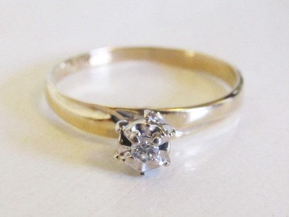Vintage 14k Yellow Gold Diamond Engagement Promise Ring Etched Signed Keepsake