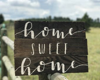 HOME SWEET HOME: Reclaimed wood sign rustic barn wood wedding first home