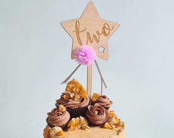 Wooden Number Star Cake Topper