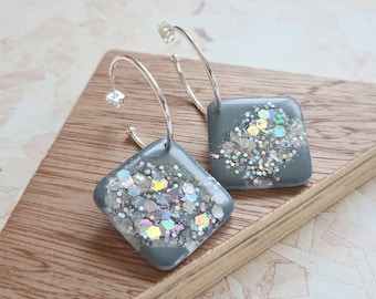 Concrete grey and holographic silver glitter resin tile earrings - with silver or gold hoops