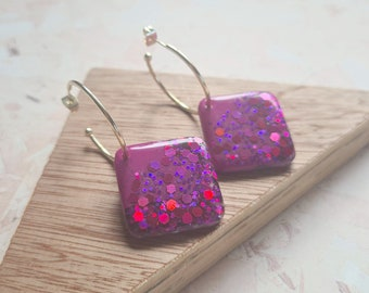 Purple and holographic purple glitter resin tile earrings - with silver or gold hoops