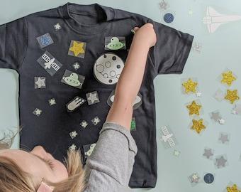 Make Your Own Space Tshirt - Kids Craft Kit - Glow in the Dark Stars - Children's Craft Set