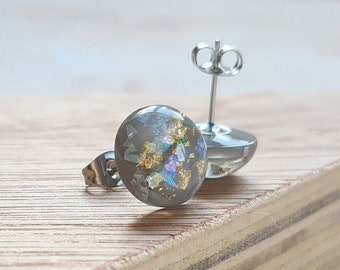 Grey Resin with Gold Leaf and Iridescent Glitter Stud Earrings - 12mm