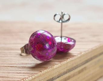 Purple Glitter Stud Resin Earrings - 12mm