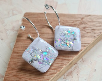 Pastel purple / grey and holographic silver iridescent glitter resin tile earrings - with silver or gold hoops