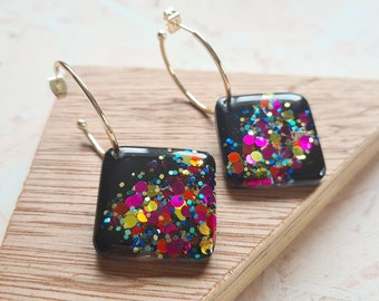 Black and party confetti glitter resin tile earrings - with silver or gold hoops