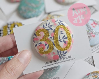 Liberty Print Birthday Number Badges, Glitter Age Badge, Birthday Booch, Personalised Badge