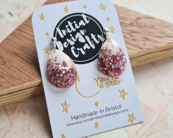 Pale pink and rose gold glitter  - Single TearDrop Earrings