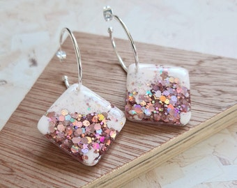 Pale pink and rose gold glitter resin tile earrings - with silver or gold hoops