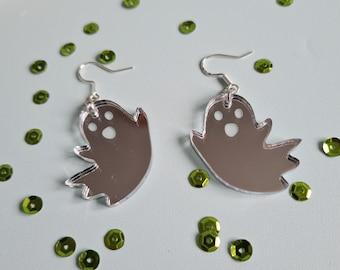Ghost Silver Mirror Earrings, Halloween Jewellery, BOO!, Cute Kitsch Earrings