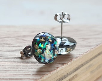 Black Resin with Gold Leaf and Iridescent Glitter Stud Earrings - 12mm