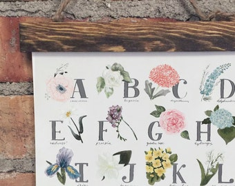 "Botanical Alphabet Canvas Giclee Print - 8""x12"" // Alphabet print, ABC wall art, ABC print, Nursery art, Nursery decor, Kids room decor"