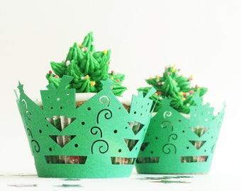 Christmas cupcake wrappers, 12 pieces green Christmas tree cup cake wraps, DIY party decorating