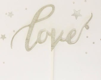 Wedding cake topper silver glitter LOVE for birthday, wedding, baby shower, engagement, hens, valentines day cake decorating