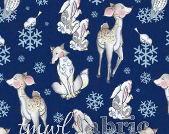 Touched By An Angel FLORAL Stripe Blue Cotton Fabric Jim Shore Cotton Fabric BTY