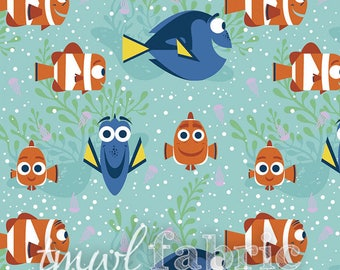 Woven Fabric - Disney Finding Dory All Smiles - Fat Quarter Yard +