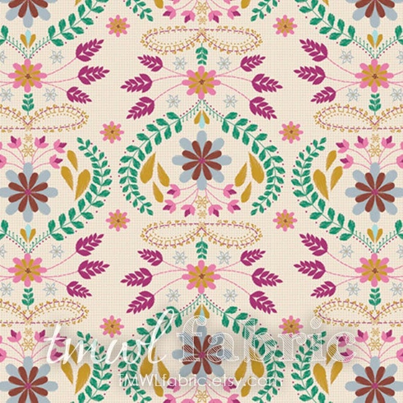 Woven Fabric  Embroiderys Fortune Rose  Fat Quarter Yard  image 1