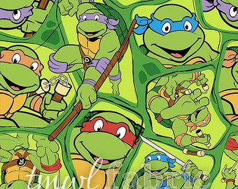 Woven Fabric - Nickelodeon Teenage Mutant Ninja Turtles Shell Toss - Fat Quarter Yard +