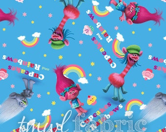 Woven Fabric - Dreamworks Trolls Poppy Cupcake Rainbows - Fat Quarter Yard +