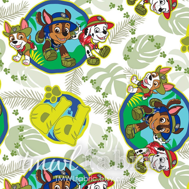 Woven Fabric  Green Paw Patrol Jungle Patrol Pups  Fat image 0