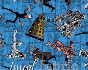 Woven Fabric - BBC Doctor Who Character Toss - Fat Quarter Yard +