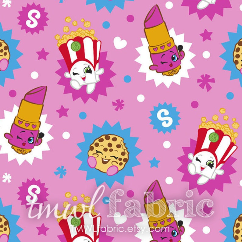 Knit Fabric  Moose Moose Shopkins Toss Knit  Fat Quarter image 0