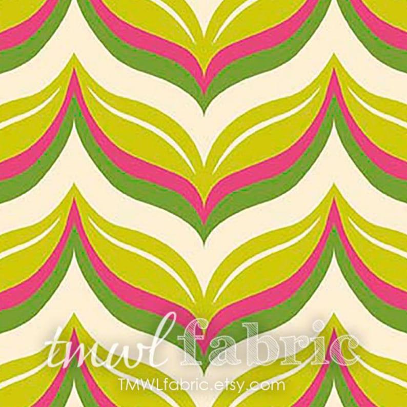 Knit Fabric  Acorn Valley Leafy Chevron Citron Cotton Lycra image 1