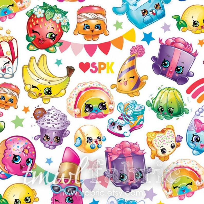Woven Fabric  Moose Shopkins Packed Rainbow Celebration  Fat image 0
