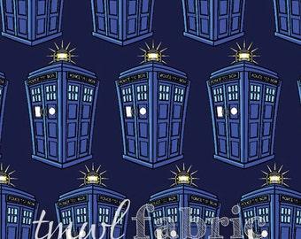 Knit Fabric - BBC Doctor Who Tardis Repeat - Fat Quarter Yard +