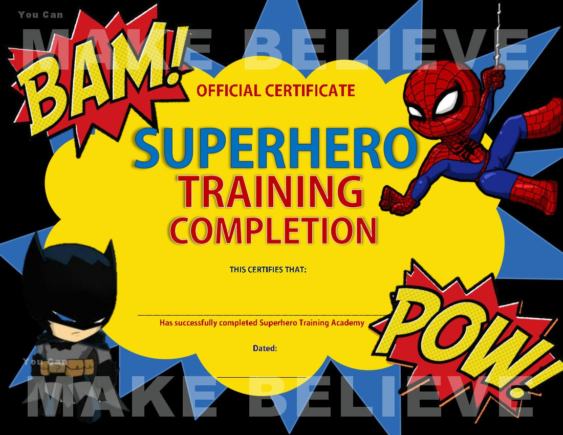 Superhero Party Training Completion Certificate Etsy