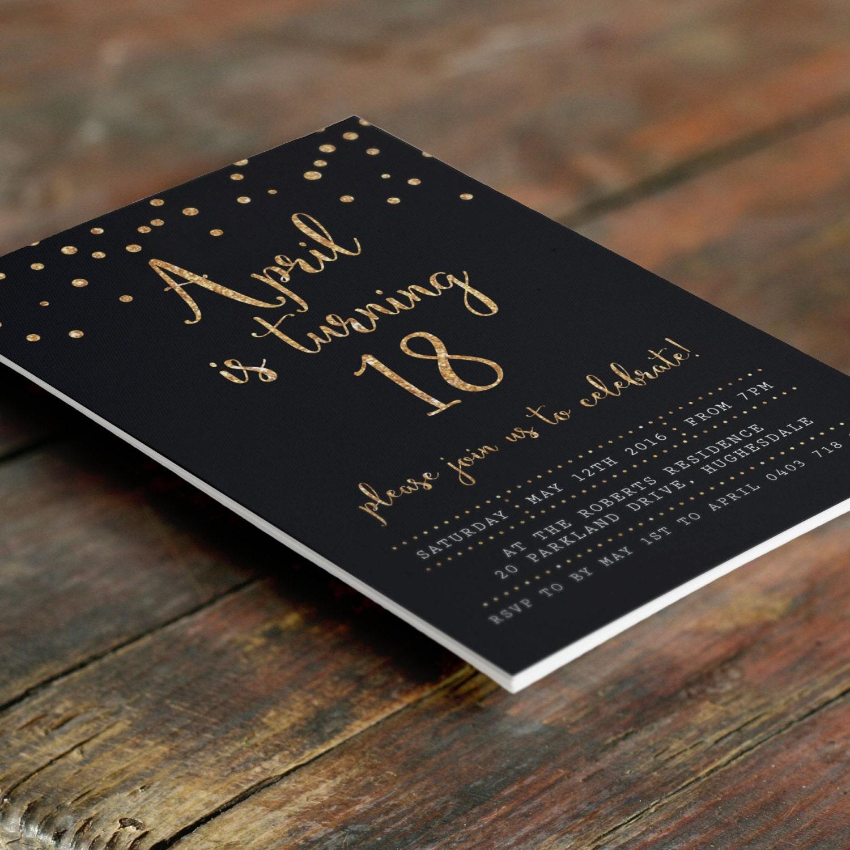 Czarno Złoty 18 Urodziny Zaproszenia A6 Plik Pdf Do Druku W Etsy