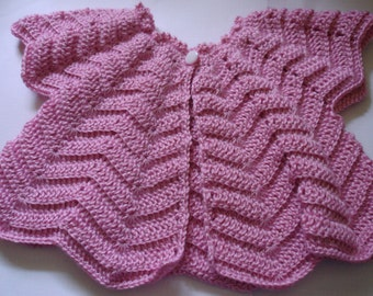 Baby Girl Crocheted Short Sleeve Cardigan in Rose Pink 4 Ply Acrylic Baby Yarn - suit 6 to 12 months