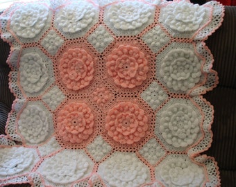 Baby Blanket - White with Apricot - 8 ply Acrylic Yarn