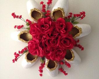 Elegant Pointe Shoe Wreath. Ballet ballerina Decor. Dance Keepsake. Wedding. Bridal. Mothers Day. gift. birthday. Christmas centerpiece!
