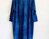 Maxi linen cotton kimono, Hand dyed kimono, indigo blue cardigan, linen kimono robe, indigo dyed linen kimono cardigan, long indigo robe