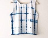 Hand dyed blue sleeveless tank top, hand-woven gypsy summer top, indigo blue cotton tunic top, women's boho boxy crop top, shibori crop top